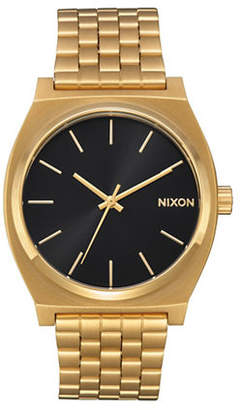 Nixon Analog Time Teller All Gold Black Sun Stainless Steel Bracelet Watch