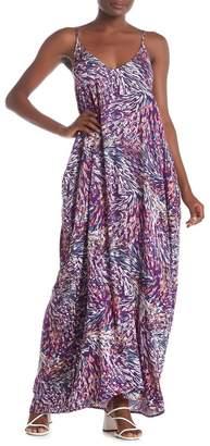 Love Stitch Double V Print Gauze Maxi Dress