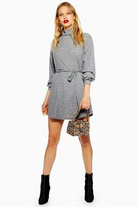 Topshop Cut And Sew Belted Mini Dress