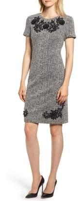 Karl Lagerfeld PARIS Tweed Applique Sheath Dress