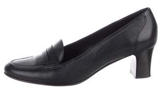 Brooks Brothers Leather Round-Toe Pumps