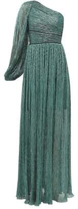 Peter Pilotto One Shoulder Plisse Lame Dress - Womens - Green