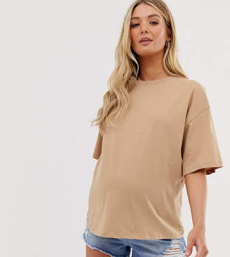 Asos DESIGN Maternity superoversized t-shirt with wash in sand