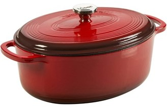 Lodge 7 Quart Oval Dutch Oven Enameled Cast Iron in Red, EC70D43, with lid