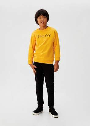 MANGO Embossed message cotton sweater