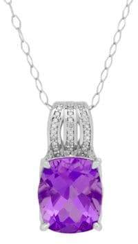 Lord & Taylor Amethyst, Diamond and Sterling Silver Cushion Pendant Necklace
