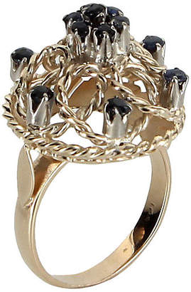 One Kings Lane Vintage Sapphire Dome Filigree Cocktail Ring