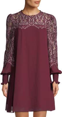 AVEC LES FILLES Lace-Sleeve Shift Dress
