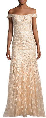 Jovani Off-the-Shoulder Tulle Leaf Gown, Gold $715 thestylecure.com