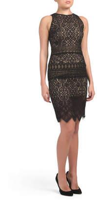 Petite Sleeveless Lace Sheath Dress