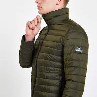 River Island Superdry green double zip Fuji padded jacket