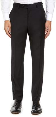 Strong Suit Flat Front Stretch Solid Wool Trousers