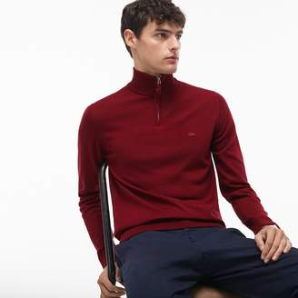 Lacoste Men's Zippered Stand-Up Collar Wool Jersey Sweater