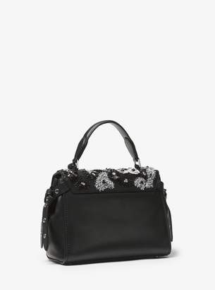 MICHAEL Michael Kors Bristol Small Floral Sequined Leather Satchel