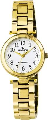 Laurens Women's F269J901Y Fashion Analog Gold Plated Dial Water Resistant Watch
