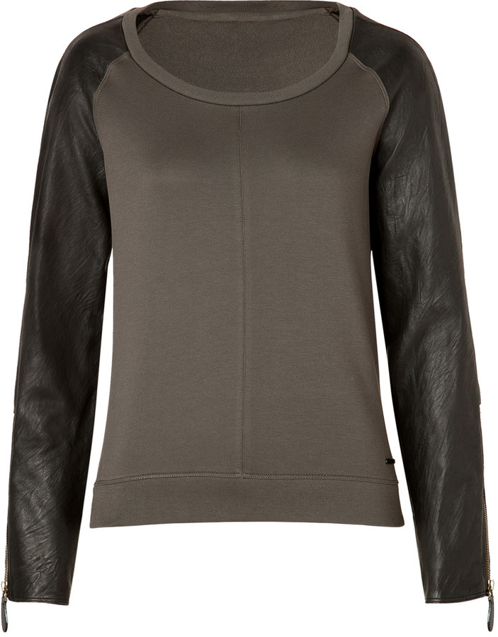 Burberry Cotton Top in Bulrush Grey with Leather Sleeves