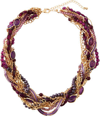 Lydell NYC Torsade Beaded Necklace, Purple