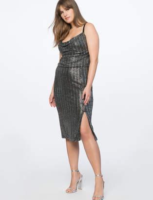 Cowl Neck Metallic Dress