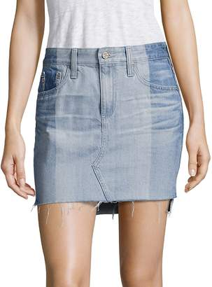 AG Adriano Goldschmied Women's Sandy Colorblock Denim Mini Skirt - Nineteen, Size 28 (4-6)