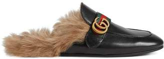 Gucci Princetown leather slipper with Double G