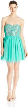 As U Wish Junior's Beaded Bust Short Prom Dress
