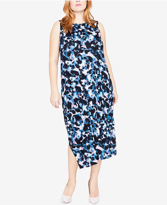 Rachel Roy Trendy Plus Size Draped-Back Midi Dress