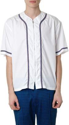 Marni Zipped White Cotton Top With Contrasting Details