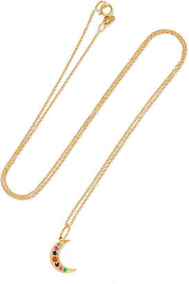 Andrea Fohrman Crescent Moon 18-karat Gold, Sapphire And Emerald Necklace - one size