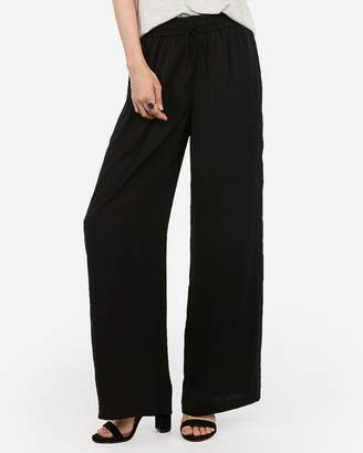 Express Satin High Waisted Wide Leg Pull-On Pant