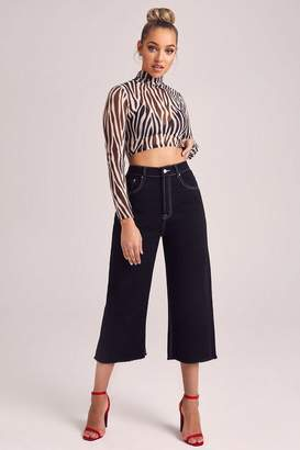 boohoo High Rise Contrast Stitch Crop Wide Leg Jeans