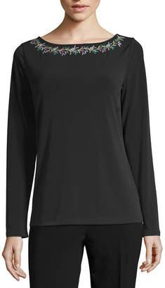 Liz Claiborne Long Sleeve Boat Neck Floral T-Shirt-Womens