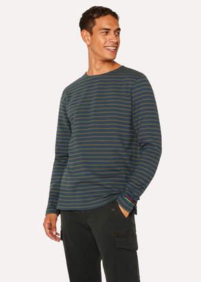 Paul Smith Men's Slate Blue And Khaki Stripe Cotton Long-Sleeve T-Shirt