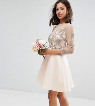 Maya Petite Allover Embellished Mini Prom Skater Dress