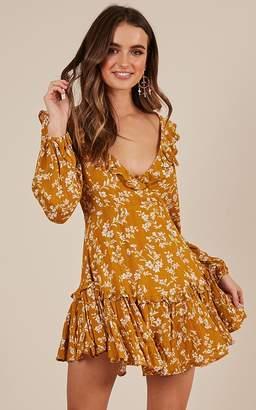 Showpo Always Stay True dress in mustard floral