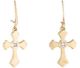14K Diamond Cross Drop Earrings