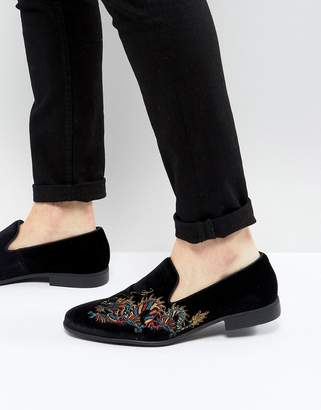 Asos Loafers in Black Velvet With Dragon Embroidery