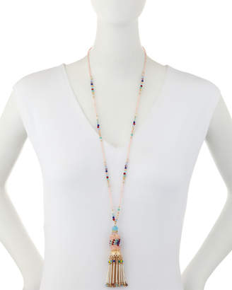 Emily and Ashley Greenbeads By Tassel Necklace w/ Seed Beads