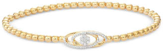 Wrapped Diamond Cluster Stretch Bead Bracelet (1/6 ct. t.w.) in 14k Gold over Sterling Silver, Created for Macy's