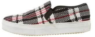 Celine Plaid-Printed Slip-On Sneakers
