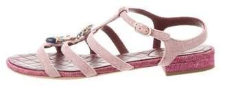 Chanel Embellished Ankle Strap Sandals
