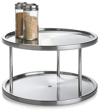 Lazy Susan Lovotex 2 Tier Stainless Steel 360 Degree Turntable – Rotating 2-Level Tabletop Stand for Your Dining Table