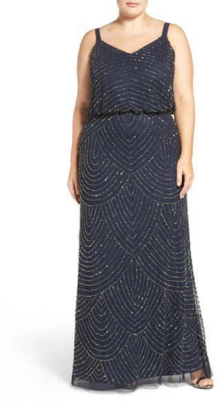 Adrianna Papell Plus Size Women's Adrianna Papell Beaded Blouson Gown