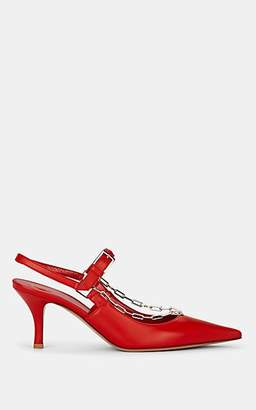 Valentino Women's Chain-Embellished Leather Pumps - Red