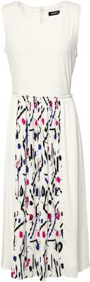 DKNY Pleated Printed Crepe De Chine And Cady Midi Dress