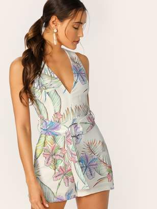 Shein Plunging Neck Tropical Print O-ring Belted Romper