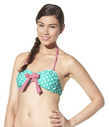 Xhilaration Junior's Bandeau Swim Top -Polka Dot