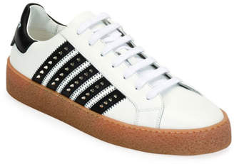 DSQUARED2 Men's Studded Side-Stripe Leather low-Top Sneakers