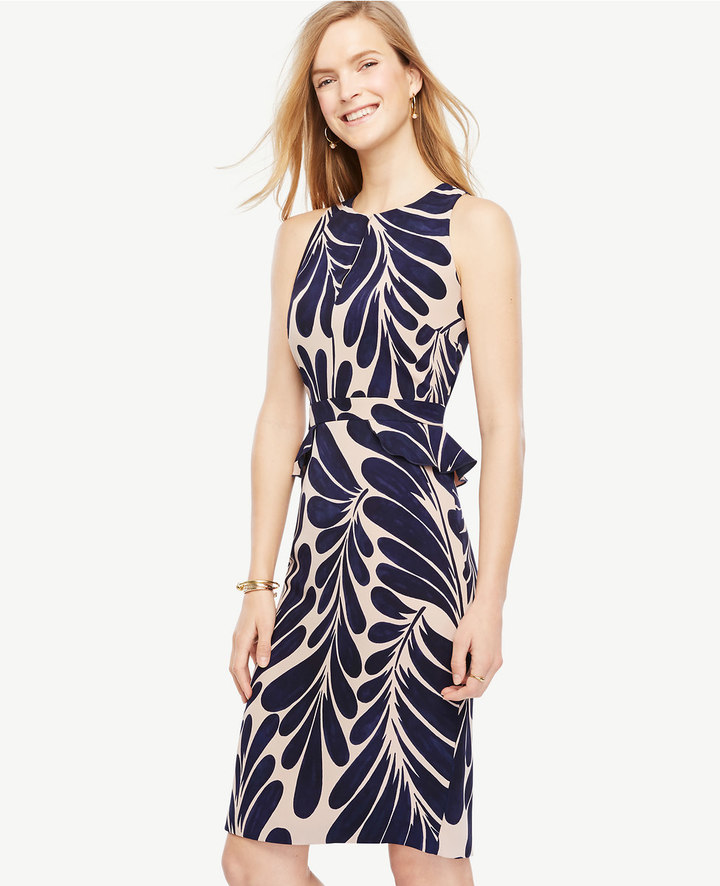 Ann TaylorPetite Leaf Petal Peplum Sheath Dress