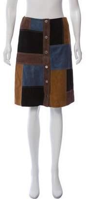 Michael Kors Suede Patchwork Skirt