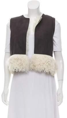 Chloé Shearling Open Front Vest